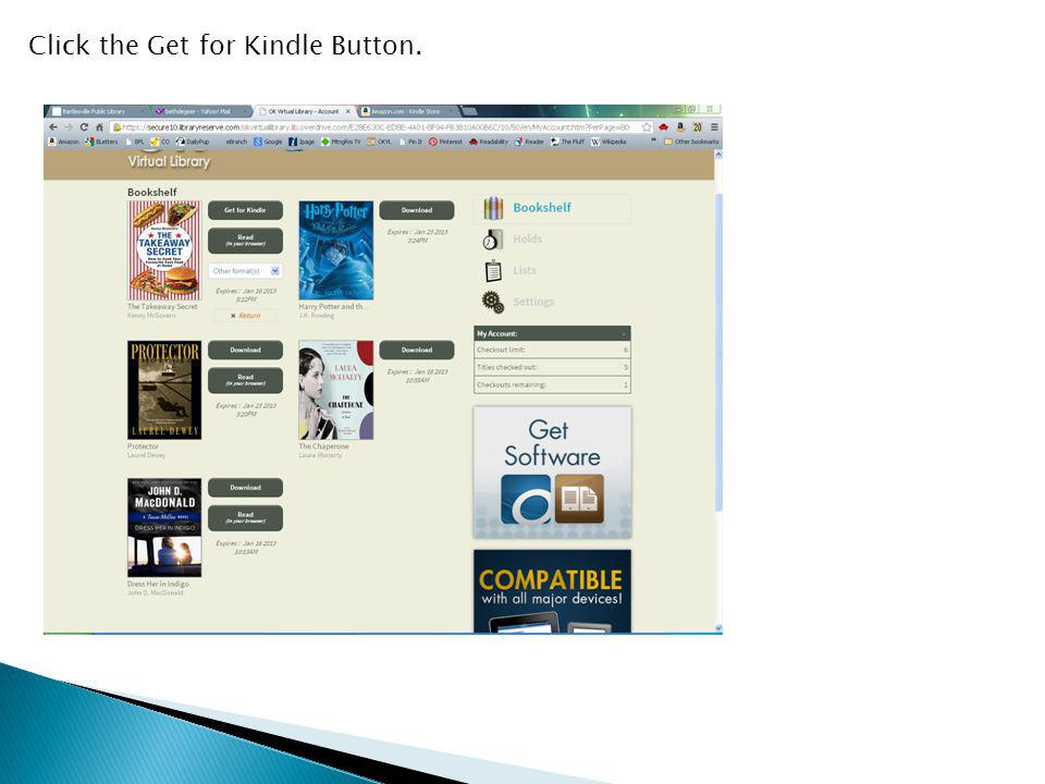 Click the Get for Kindle Button.