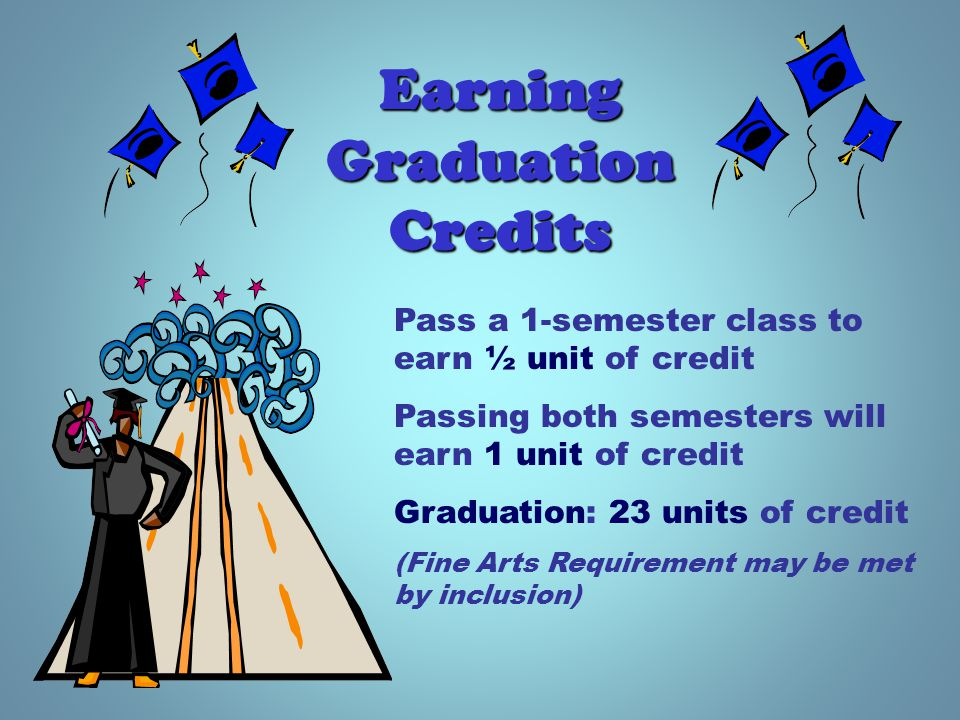 Pass a 1-semester class to earn ½ unit of credit Passing both semesters will earn 1 unit of credit Graduation: 23 units of credit (Fine Arts Requirement may be met by inclusion) Earning Graduation Credits