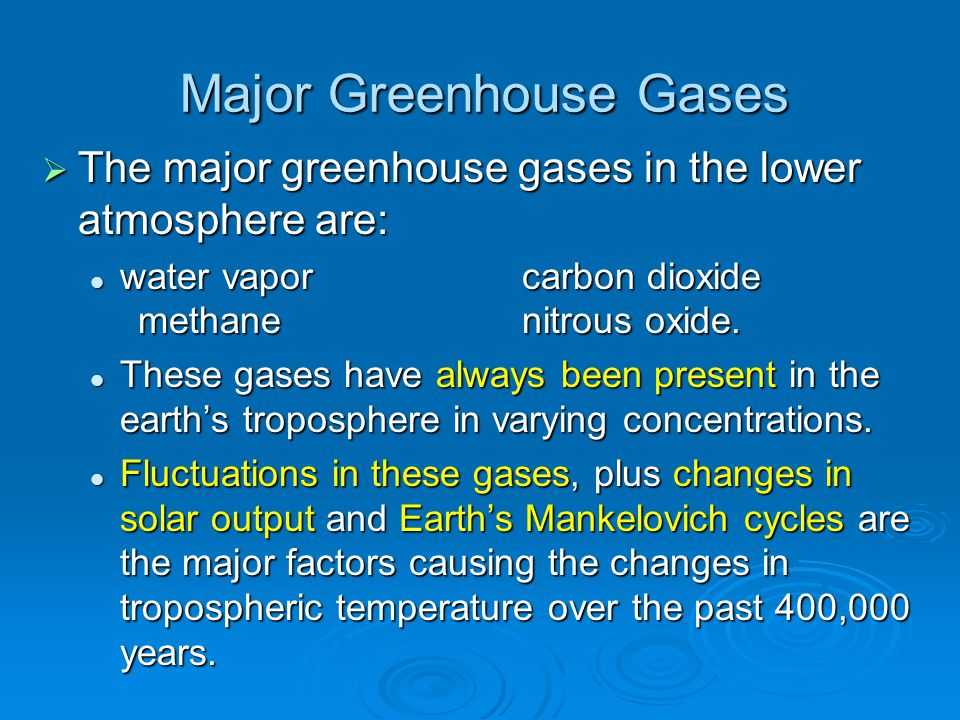 Major Greenhouse Gases  The major greenhouse gases in the lower atmosphere are: water vaporcarbon dioxide methane nitrous oxide. water vaporcarbon di