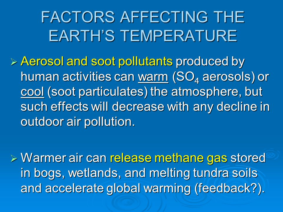FACTORS AFFECTING THE EARTH'S TEMPERATURE  Aerosol and soot pollutants produced by human activities can warm (SO 4 aerosols) or cool (soot particulat