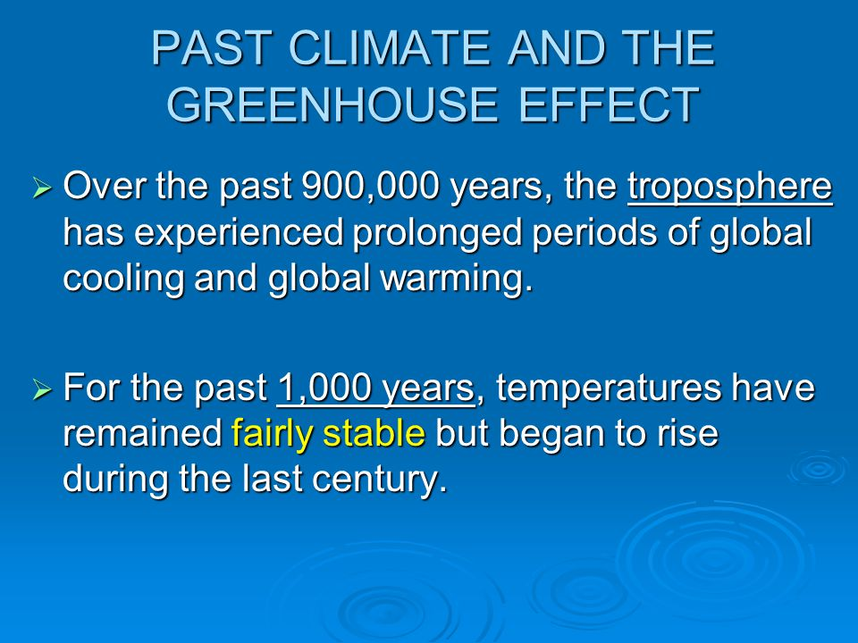 PAST CLIMATE AND THE GREENHOUSE EFFECT  Over the past 900,000 years, the troposphere has experienced prolonged periods of global cooling and global w