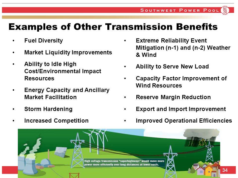 SPP.org 34 Examples of Other Transmission Benefits Fuel Diversity Market Liquidity Improvements Ability to Idle High Cost/Environmental Impact Resources Energy Capacity and Ancillary Market Facilitation Storm Hardening Increased Competition Extreme Reliability Event Mitigation (n-1) and (n-2) Weather & Wind Ability to Serve New Load Capacity Factor Improvement of Wind Resources Reserve Margin Reduction Export and Import Improvement Improved Operational Efficiencies
