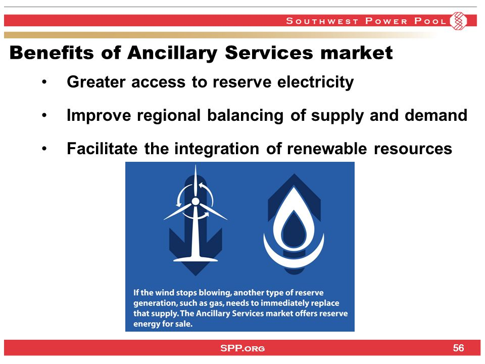 SPP.org 56 Benefits of Ancillary Services market Greater access to reserve electricity Improve regional balancing of supply and demand Facilitate the integration of renewable resources