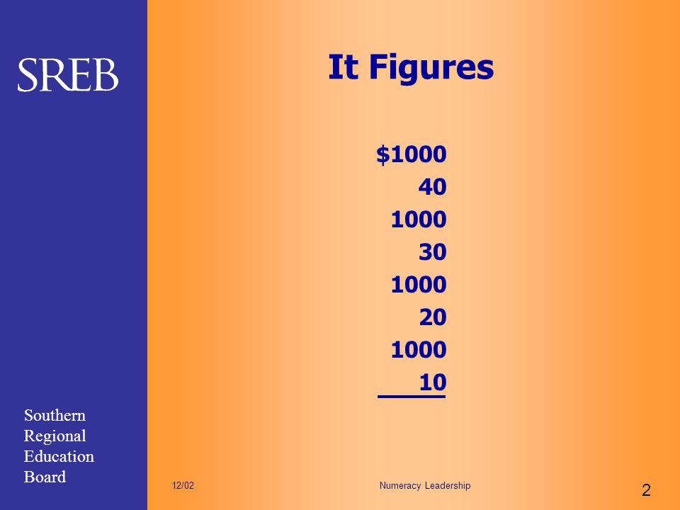Southern Regional Education Board Numeracy Leadership 2 12/02 It Figures $1000 40 1000 30 1000 20 1000 10