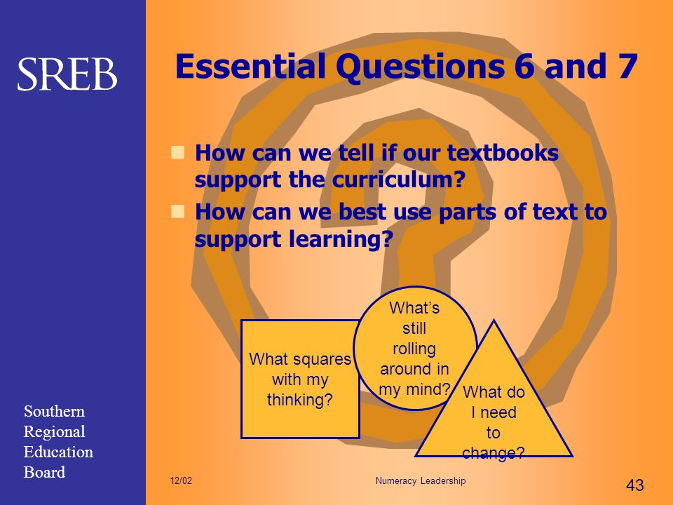 Southern Regional Education Board Numeracy Leadership 43 12/02 Essential Questions 6 and 7 How can we tell if our textbooks support the curriculum? Ho