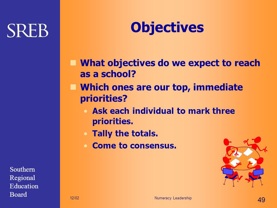 Southern Regional Education Board Numeracy Leadership 49 12/02 Objectives What objectives do we expect to reach as a school? Which ones are our top, i