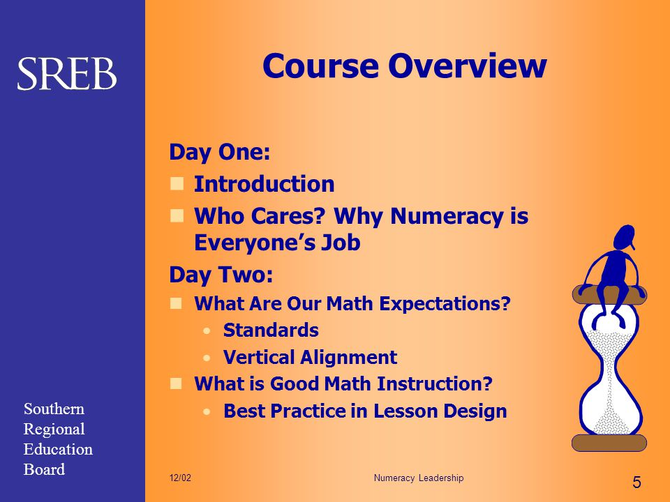 Southern Regional Education Board Numeracy Leadership 5 12/02 Course Overview Day One: Introduction Who Cares? Why Numeracy is Everyone's Job Day Two: