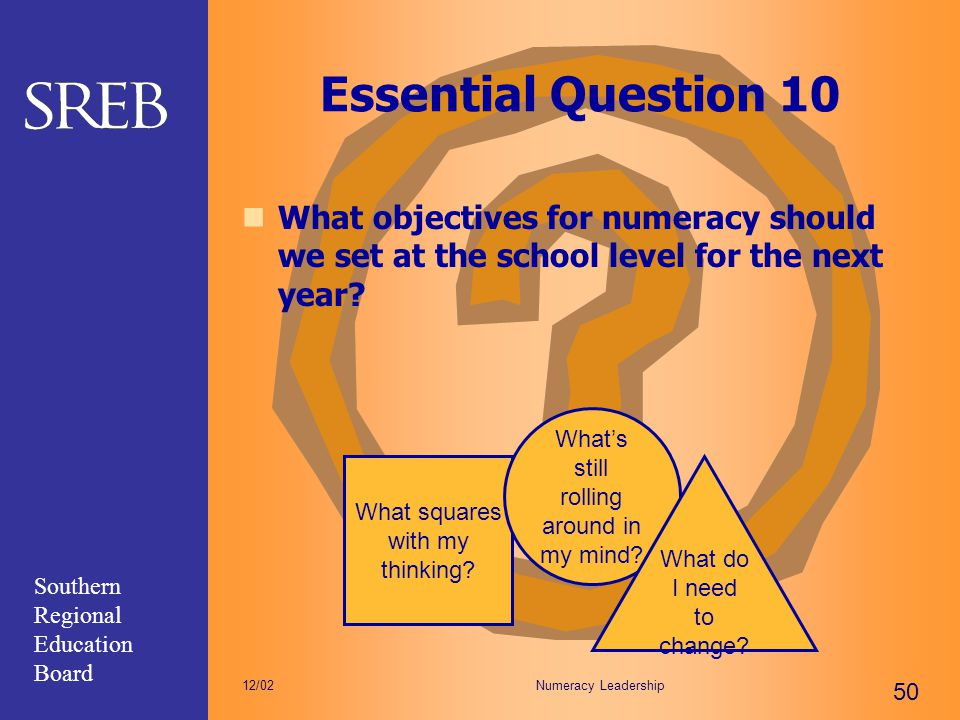 Southern Regional Education Board Numeracy Leadership 50 12/02 Essential Question 10 What objectives for numeracy should we set at the school level fo