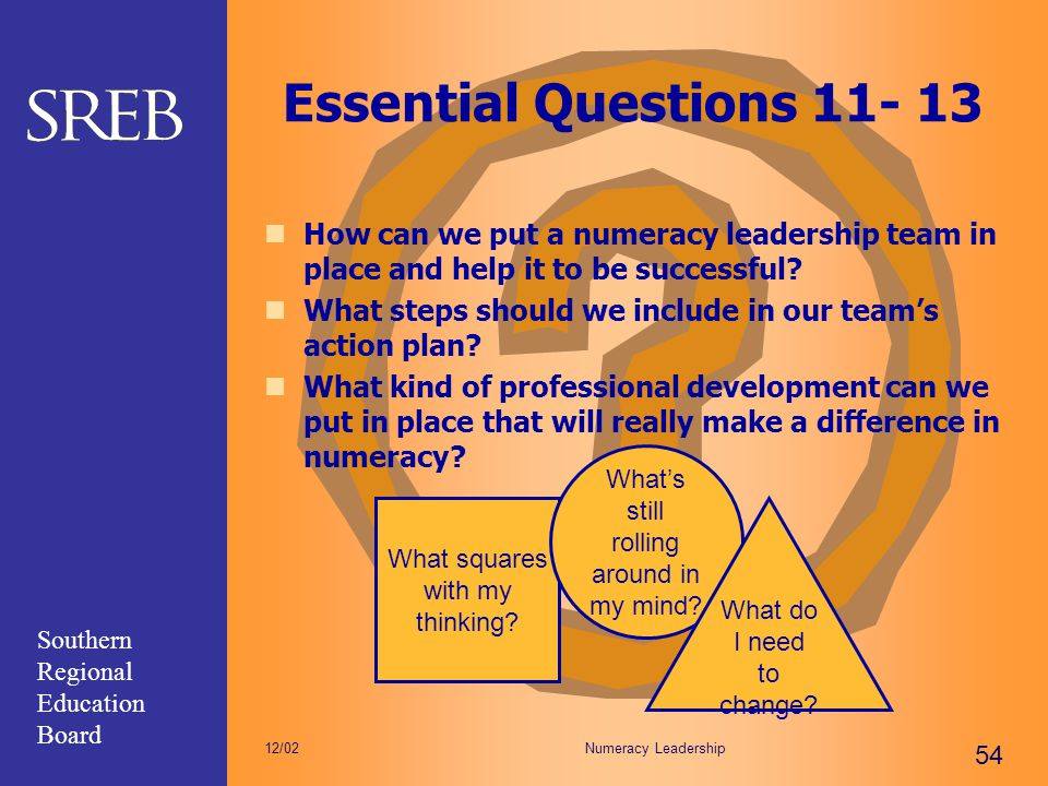 Southern Regional Education Board Numeracy Leadership 54 12/02 Essential Questions 11- 13 How can we put a numeracy leadership team in place and help
