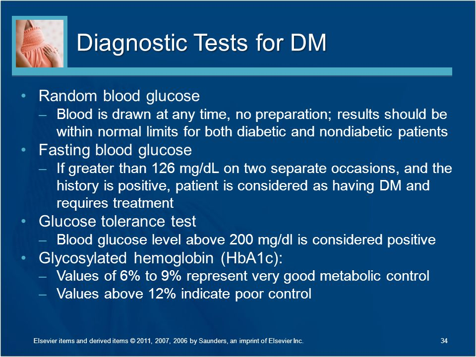 Diagnostic Tests for DM Random blood glucose –Blood is drawn at any time, no preparation; results should be within normal limits for both diabetic and