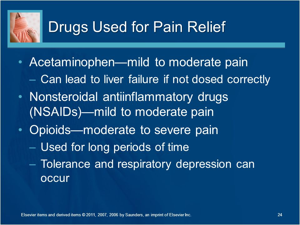 Drugs Used for Pain Relief Acetaminophen—mild to moderate pain –Can lead to liver failure if not dosed correctly Nonsteroidal antiinflammatory drugs (NSAIDs)—mild to moderate pain Opioids—moderate to severe pain –Used for long periods of time –Tolerance and respiratory depression can occur 24Elsevier items and derived items © 2011, 2007, 2006 by Saunders, an imprint of Elsevier Inc.