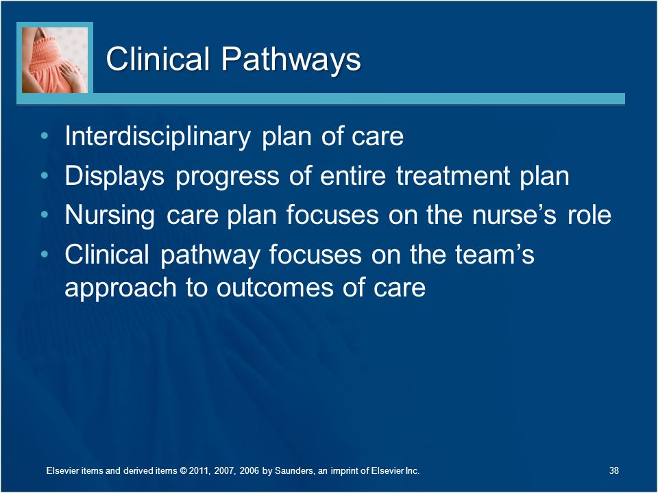 Clinical Pathways Interdisciplinary plan of care Displays progress of entire treatment plan Nursing care plan focuses on the nurse's role Clinical pathway focuses on the team's approach to outcomes of care 38Elsevier items and derived items © 2011, 2007, 2006 by Saunders, an imprint of Elsevier Inc.