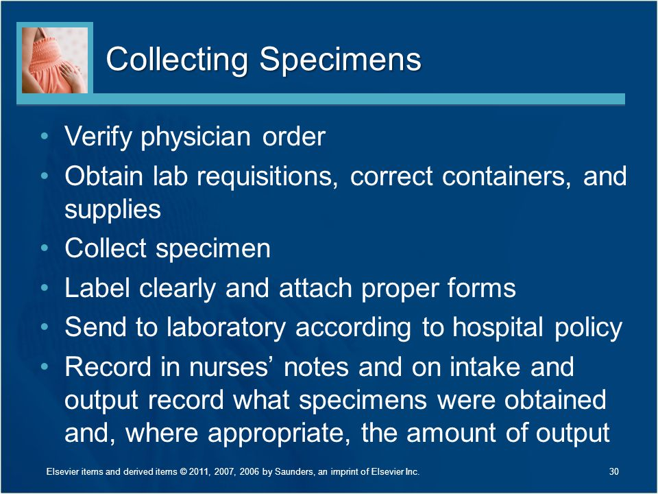 Collecting Specimens Verify physician order Obtain lab requisitions, correct containers, and supplies Collect specimen Label clearly and attach proper