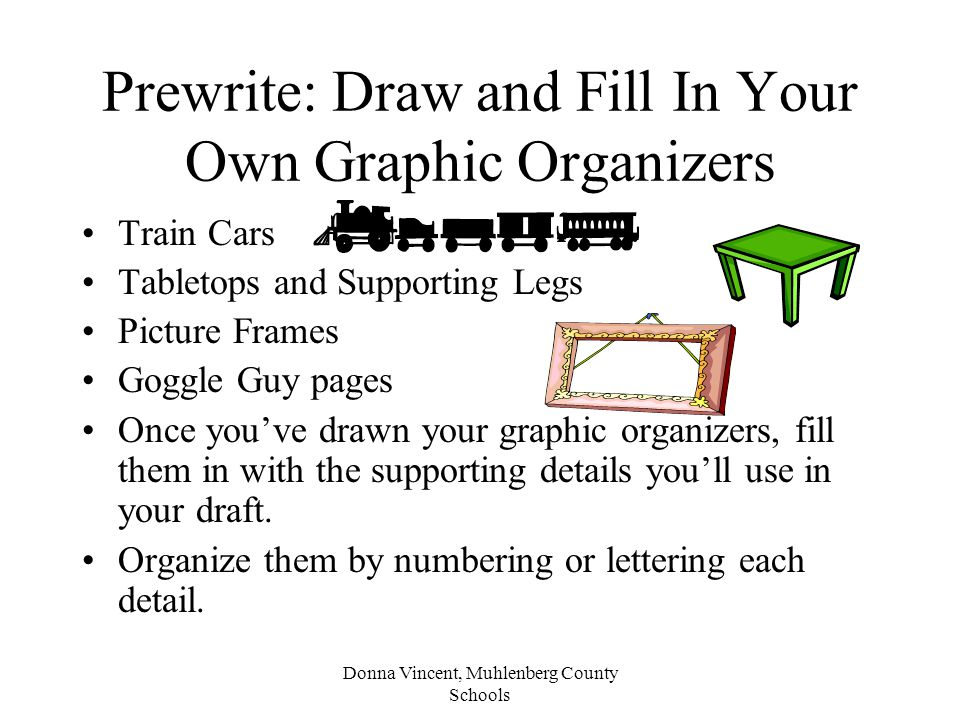 Donna Vincent, Muhlenberg County Schools Prewrite: Draw and Fill In Your Own Graphic Organizers Train Cars Tabletops and Supporting Legs Picture Frames Goggle Guy pages Once you've drawn your graphic organizers, fill them in with the supporting details you'll use in your draft.
