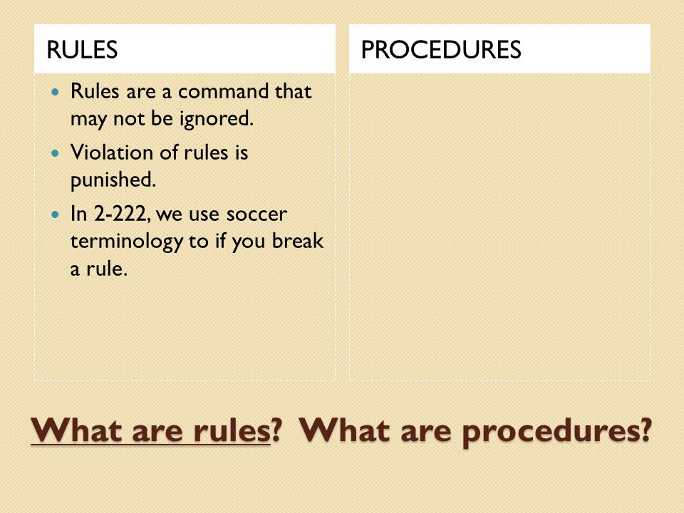 What are rules. What are procedures. RULESPROCEDURES Rules are a command that may not be ignored.