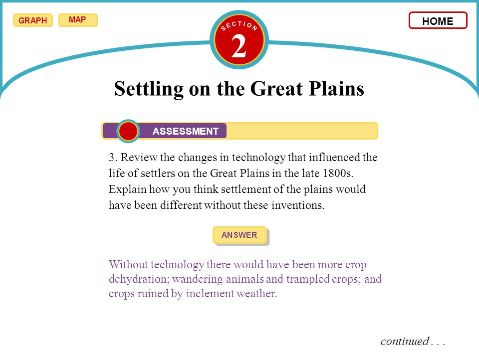 2 Settling on the Great Plains 3. Review the changes in technology that influenced the life of settlers on the Great Plains in the late 1800s. Explain
