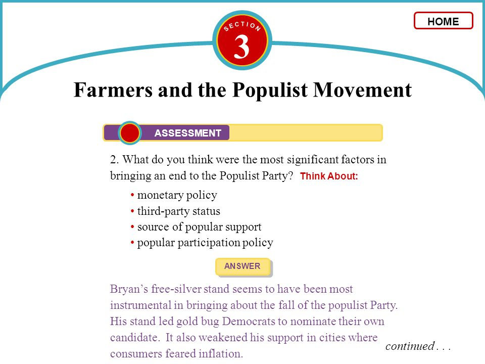 3 Farmers and the Populist Movement 2. What do you think were the most significant factors in bringing an end to the Populist Party? Think About: ANSW