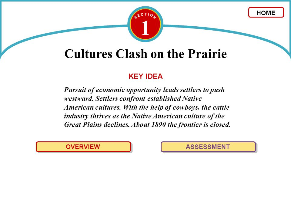 1 Cultures Clash on the Prairie OVERVIEW The cattle industry boomed in the late 1800s, as the culture of the Plains Indians declined.