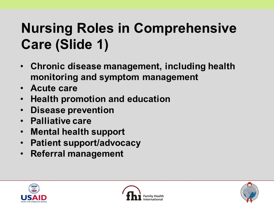 Nursing Roles in Comprehensive Care (Slide 1) Chronic disease management, including health monitoring and symptom management Acute care Health promoti