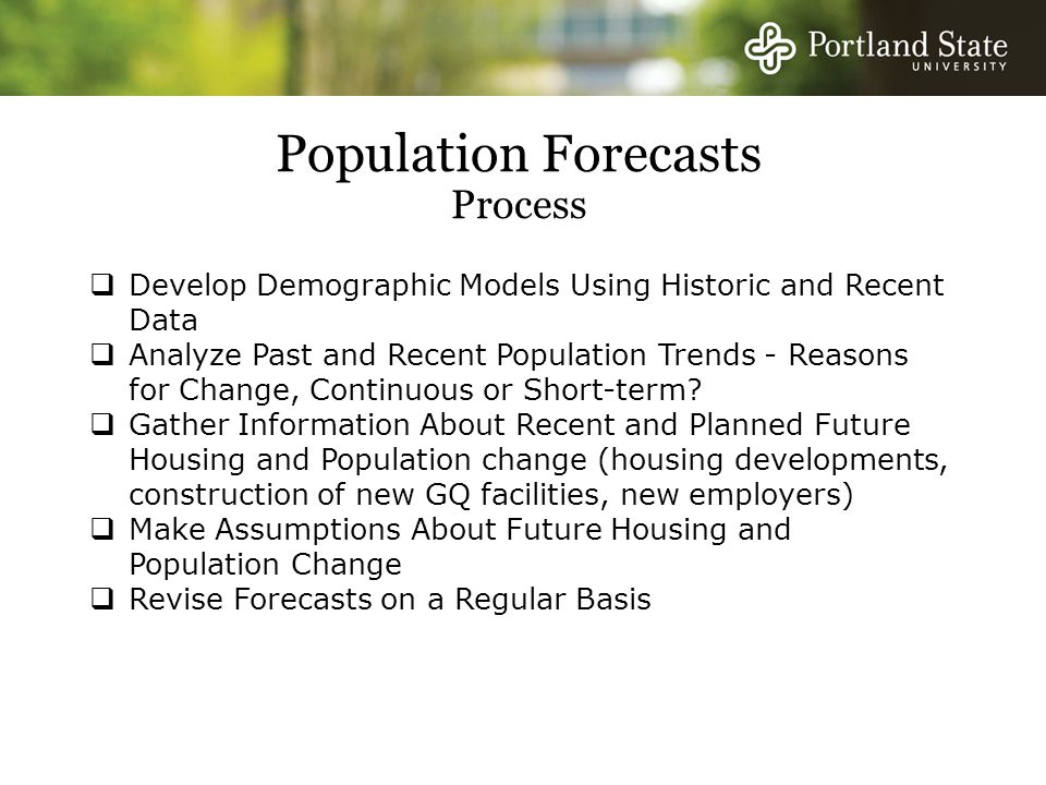 Outline  Population Trends – Lane County  Population Projection Methods  Assumptions About the Future