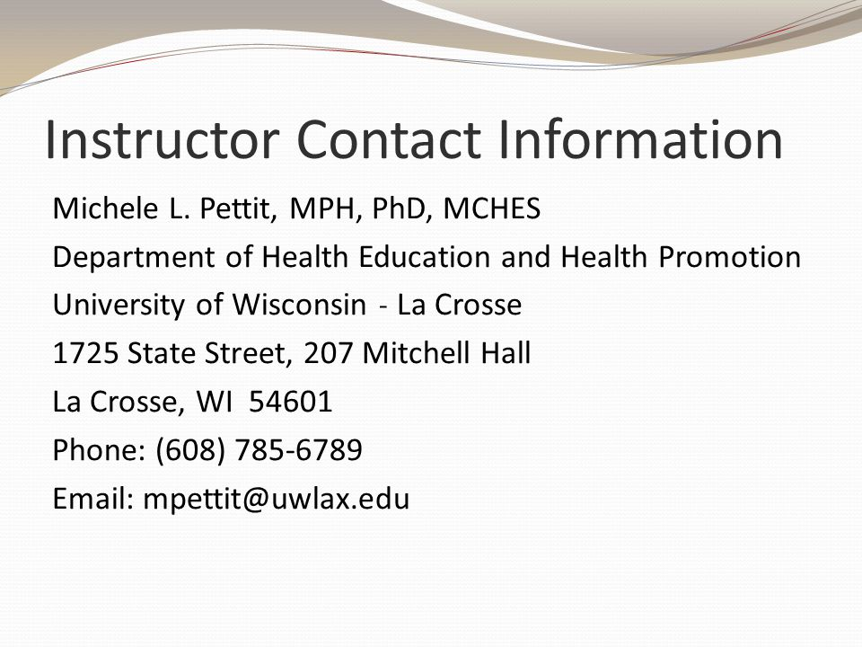 Instructor Contact Information Michele L.