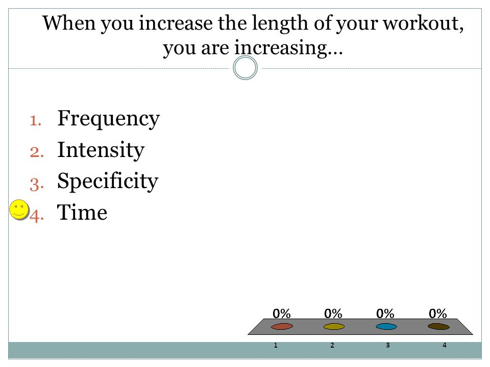 When you increase the length of your workout, you are increasing… 1.