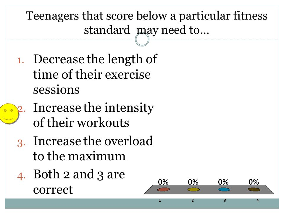 Teenagers that score below a particular fitness standard may need to… 1. Decrease the length of time of their exercise sessions 2. Increase the intens