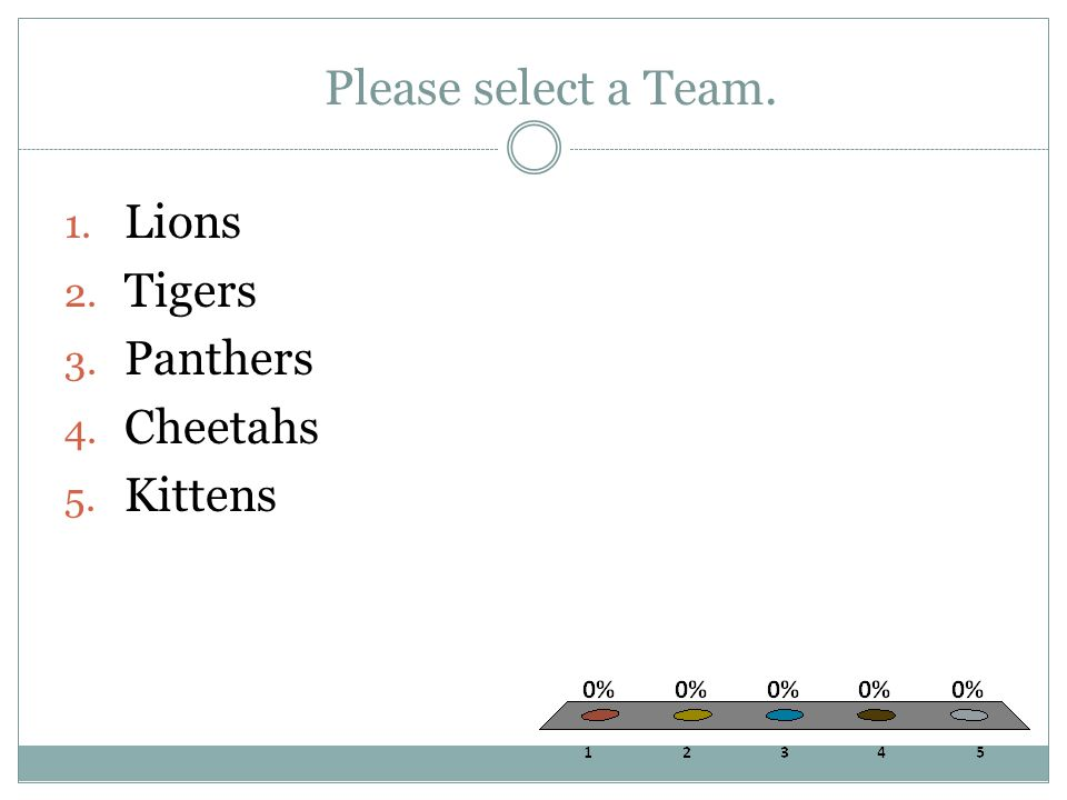 Please select a Team. 1. Lions 2. Tigers 3. Panthers 4. Cheetahs 5. Kittens