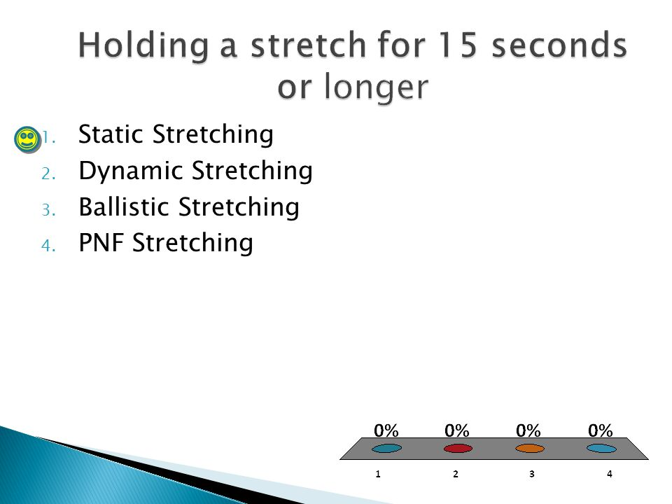 1. Static Stretching 2. Dynamic Stretching 3. Ballistic Stretching 4. PNF Stretching