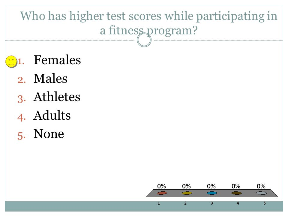 Who has higher test scores while participating in a fitness program? 1. Females 2. Males 3. Athletes 4. Adults 5. None