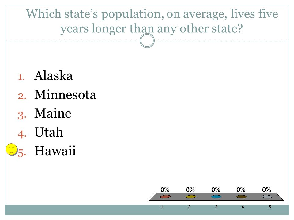 Which state's population, on average, lives five years longer than any other state.
