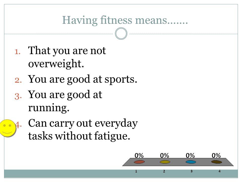 Having fitness means……. 1. That you are not overweight. 2. You are good at sports. 3. You are good at running. 4. Can carry out everyday tasks without