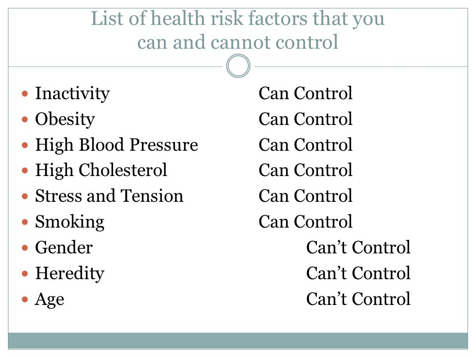 List of health risk factors that you can and cannot control InactivityCan Control ObesityCan Control High Blood PressureCan Control High CholesterolCan Control Stress and TensionCan Control SmokingCan Control GenderCan't Control HeredityCan't Control AgeCan't Control