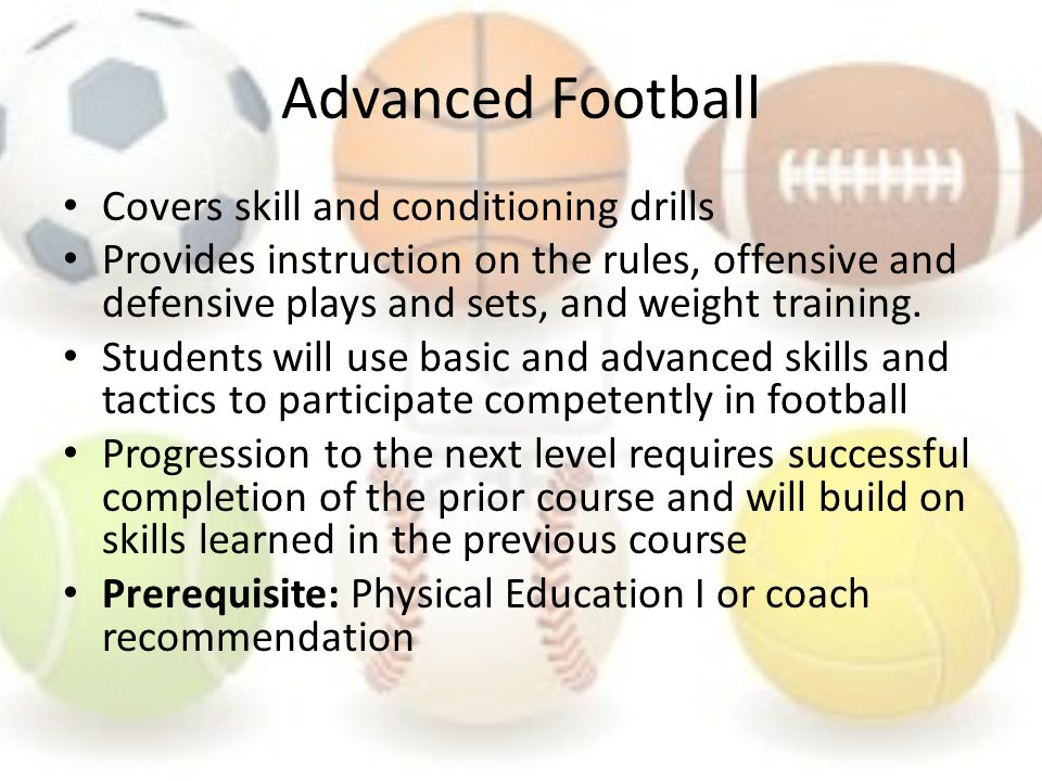 Advanced Football Covers skill and conditioning drills Provides instruction on the rules, offensive and defensive plays and sets, and weight training.