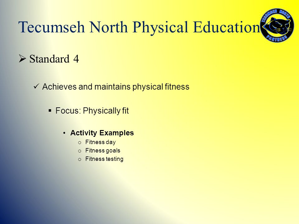  Standard 4 Achieves and maintains physical fitness  Focus: Physically fit Activity Examples o Fitness day o Fitness goals o Fitness testing Tecumse