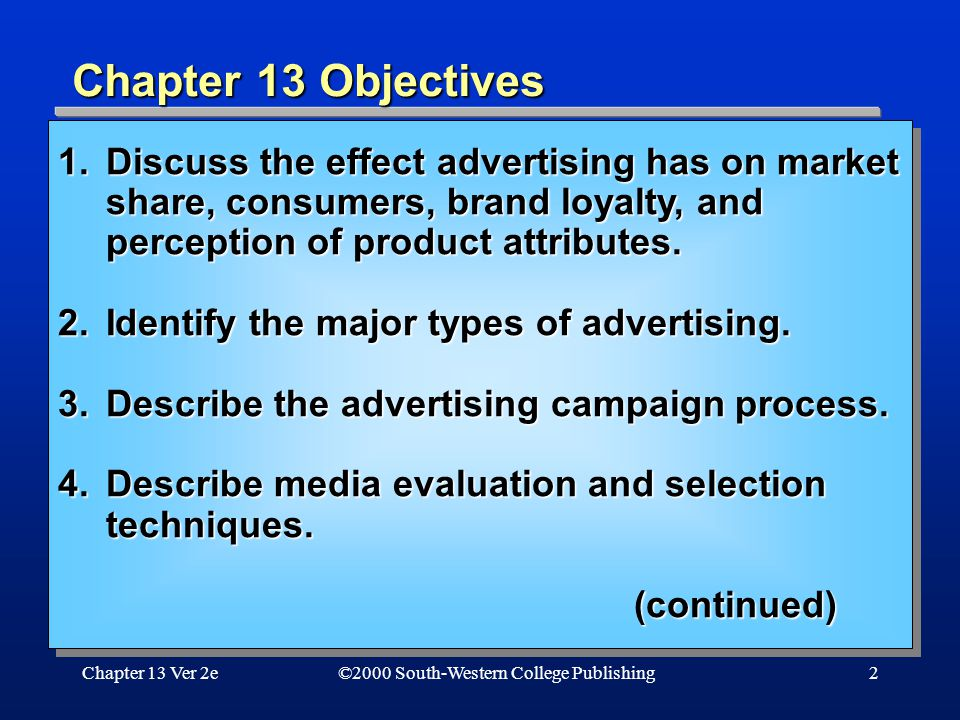 Chapter 13 Ver 2e2 Chapter 13 Objectives ©2000 South-Western College Publishing 1.Discuss the effect advertising has on market share, consumers, brand