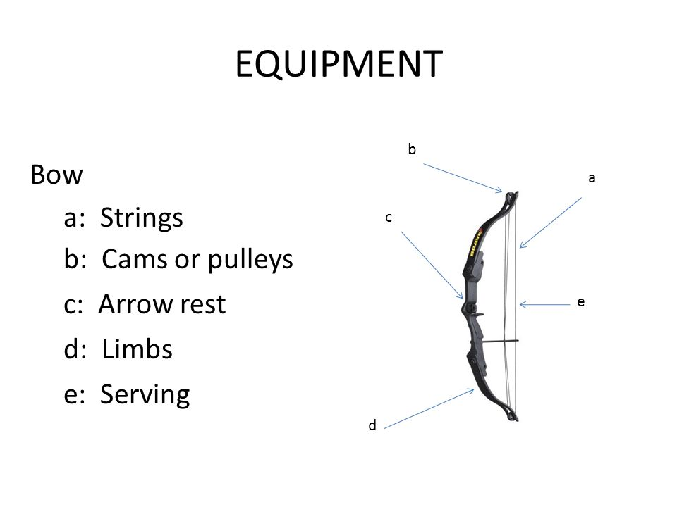 EQUIPMENT Bow a: Strings a b c d e b: Cams or pulleys c: Arrow rest d: Limbs e: Serving
