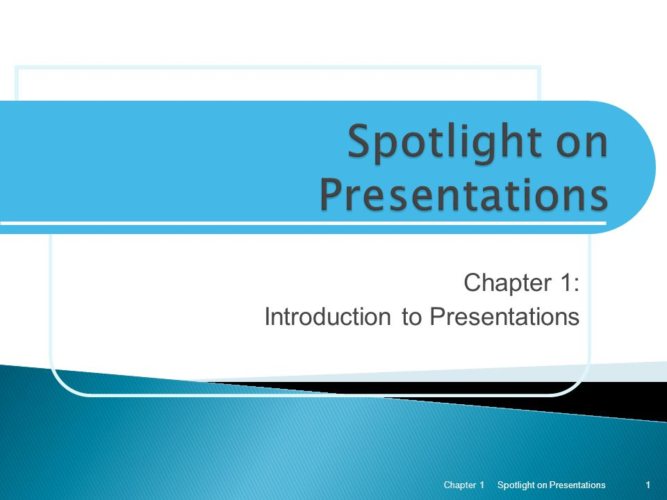  Learn about the uses of presentation software  Look at the various parts of the presentation window  Move around within an existing presentation  Open and edit an existing presentation  Determine when to use Save and when to use Save As  Print a handout  Create a title slide  Add a design template to our presentation Spotlight on Presentations Chapter 1 2