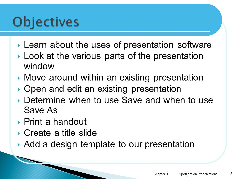  Design theme  Outline pane  Presentation program  Quick Access Toolbar  Ribbon  Scroll bar Spotlight on PresentationsChapter 13  Slide  Slides pane  Status Bar  Title Bar  Title slide