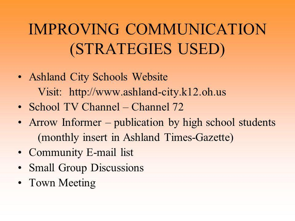 IMPROVING COMMUNICATION (STRATEGIES USED) Ashland City Schools Website Visit: http://www.ashland-city.k12.oh.us School TV Channel – Channel 72 Arrow Informer – publication by high school students (monthly insert in Ashland Times-Gazette) Community E-mail list Small Group Discussions Town Meeting