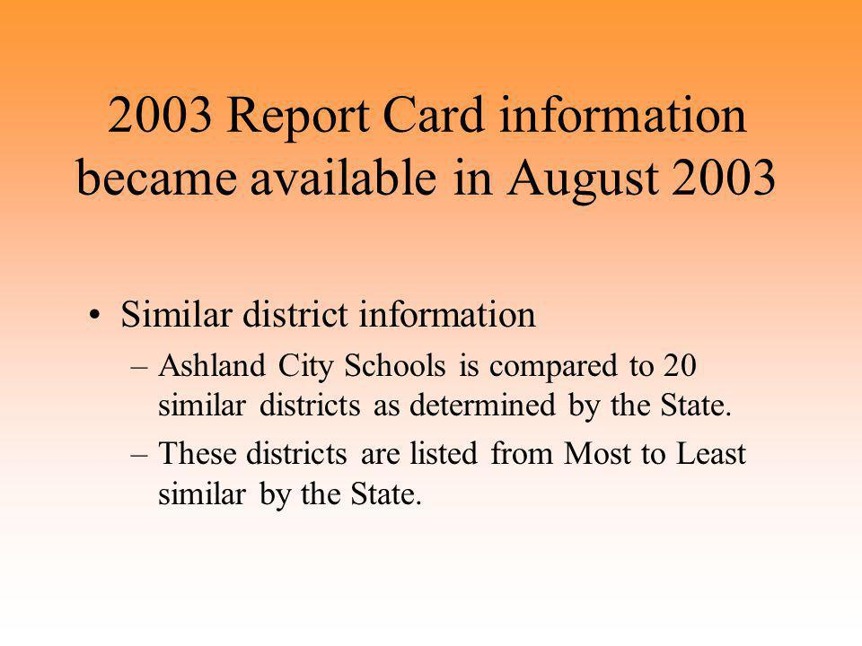 2003 Report Card information became available in August 2003 Similar district information –Ashland City Schools is compared to 20 similar districts as determined by the State.