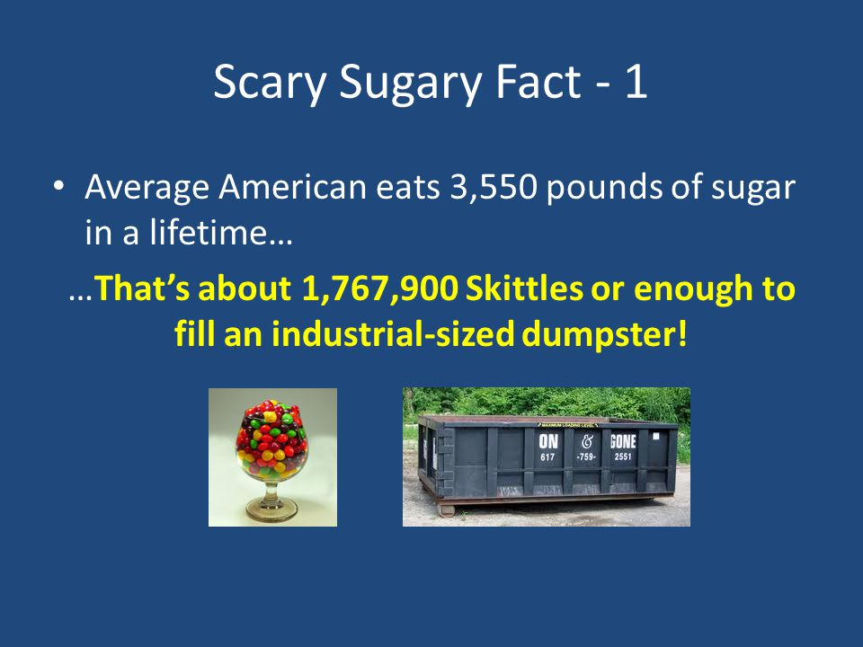 Scary Sugary Fact - 1 Average American eats 3,550 pounds of sugar in a lifetime… …That's about 1,767,900 Skittles or enough to fill an industrial-size
