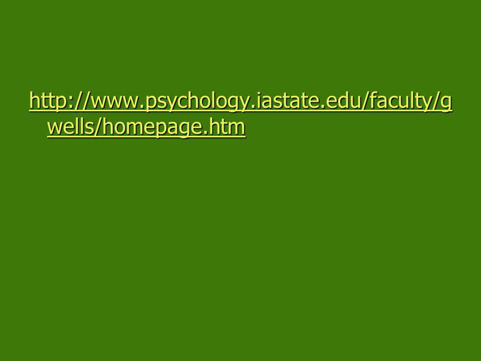http://www.psychology.iastate.edu/faculty/g wells/homepage.htm http://www.psychology.iastate.edu/faculty/g wells/homepage.htm