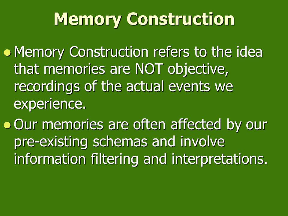 Memory Construction Eyewitnesses reconstruct memories when questioned Eyewitnesses reconstruct memories when questioned Depiction of actual accident Leading question: About how fast were the cars going when they smashed into each other? Memory constructio n