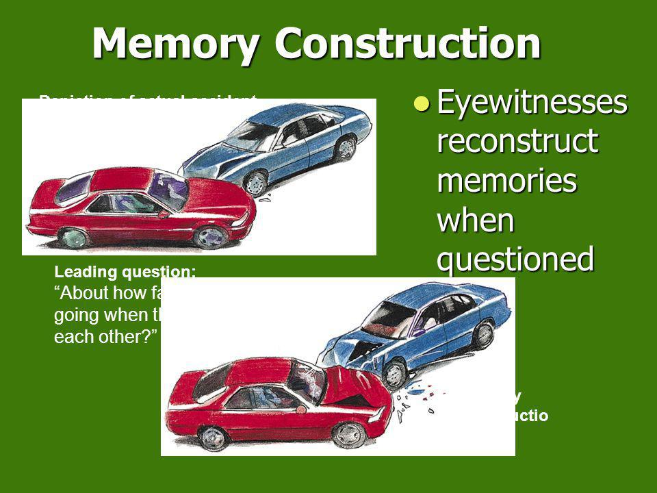 Memory Construction Affected By: Misinformation Effect: incorporating misleading information into one s memory of an event Misinformation Effect: incorporating misleading information into one s memory of an event Coke Vs.