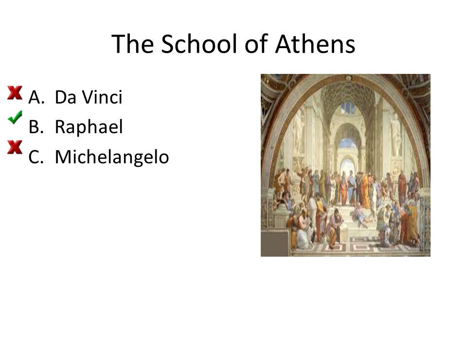 The School of Athens A.Da Vinci B.Raphael C.Michelangelo