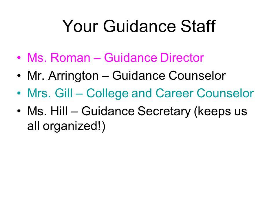Your Guidance Staff Ms.Roman – Guidance Director Mr.