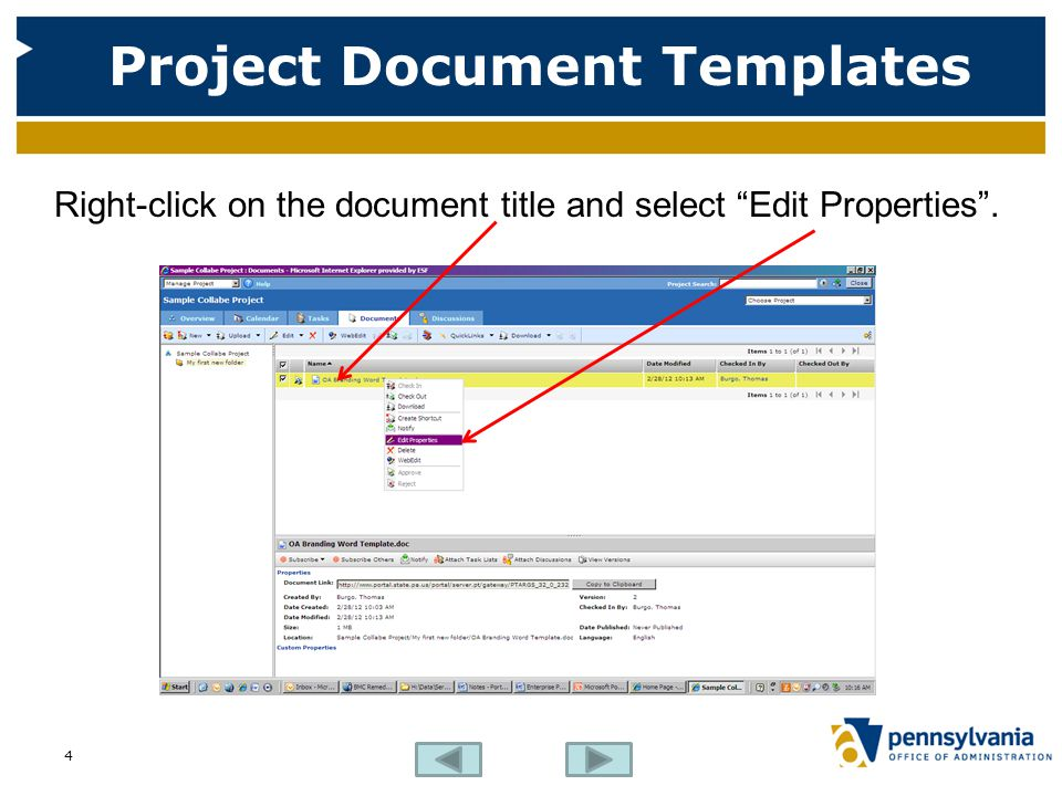 """Project Document Templates Right-click on the document title and select """"Edit Properties"""". 4"""