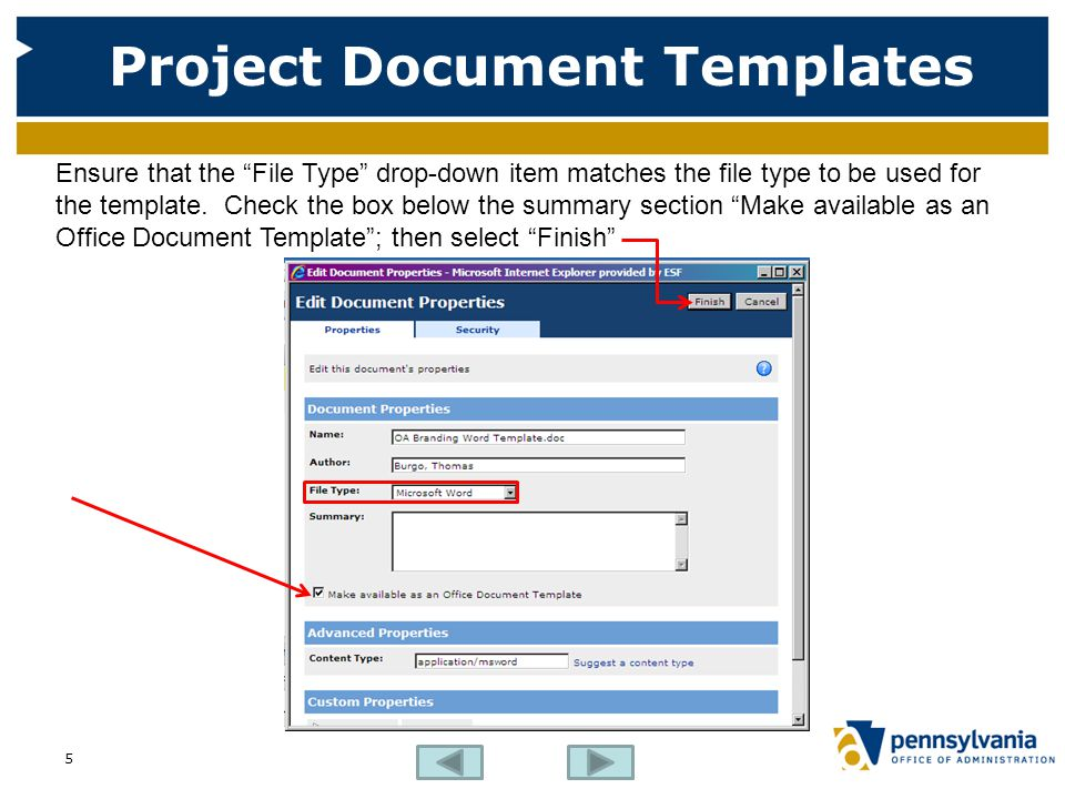 """Project Document Templates Ensure that the """"File Type"""" drop-down item matches the file type to be used for the template. Check the box below the summa"""