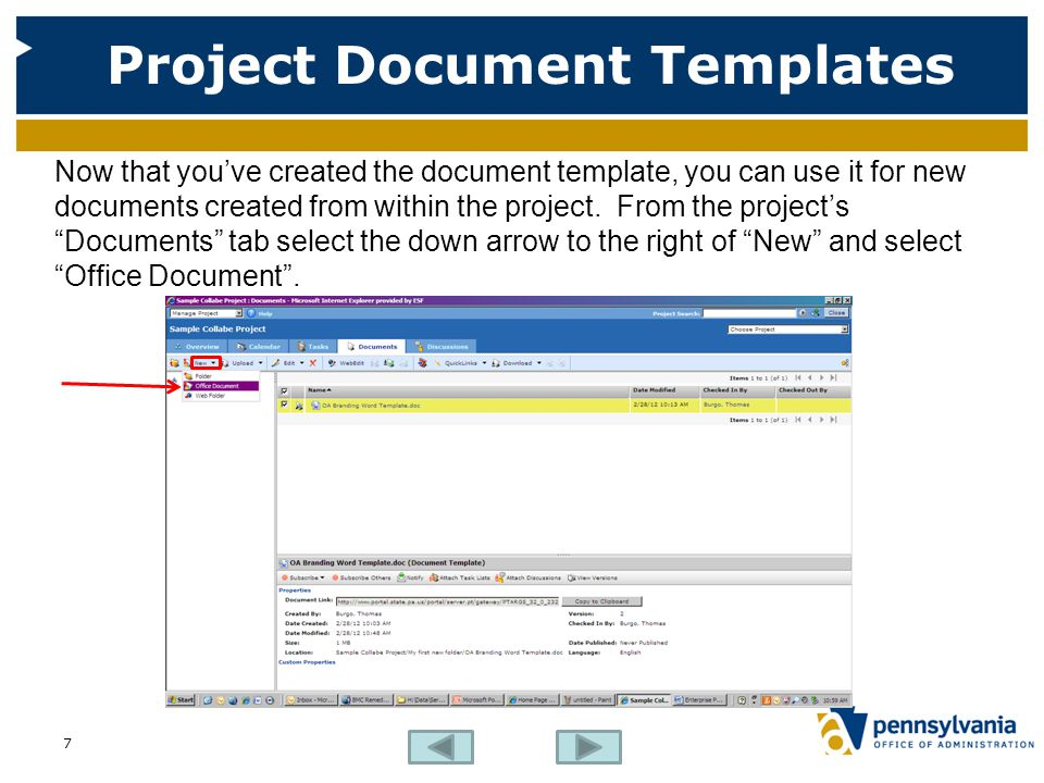 Project Document Templates Now that you've created the document template, you can use it for new documents created from within the project. From the p